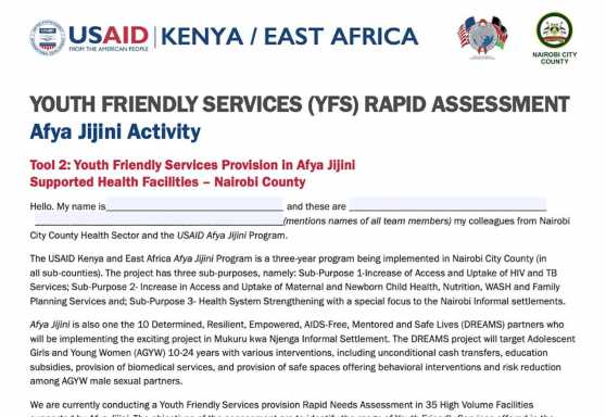 Youth Friendly Services Rapid Assessment for Health Facilities