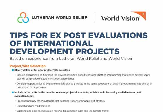 Tips for Ex Post Evaluations of International Development Projects